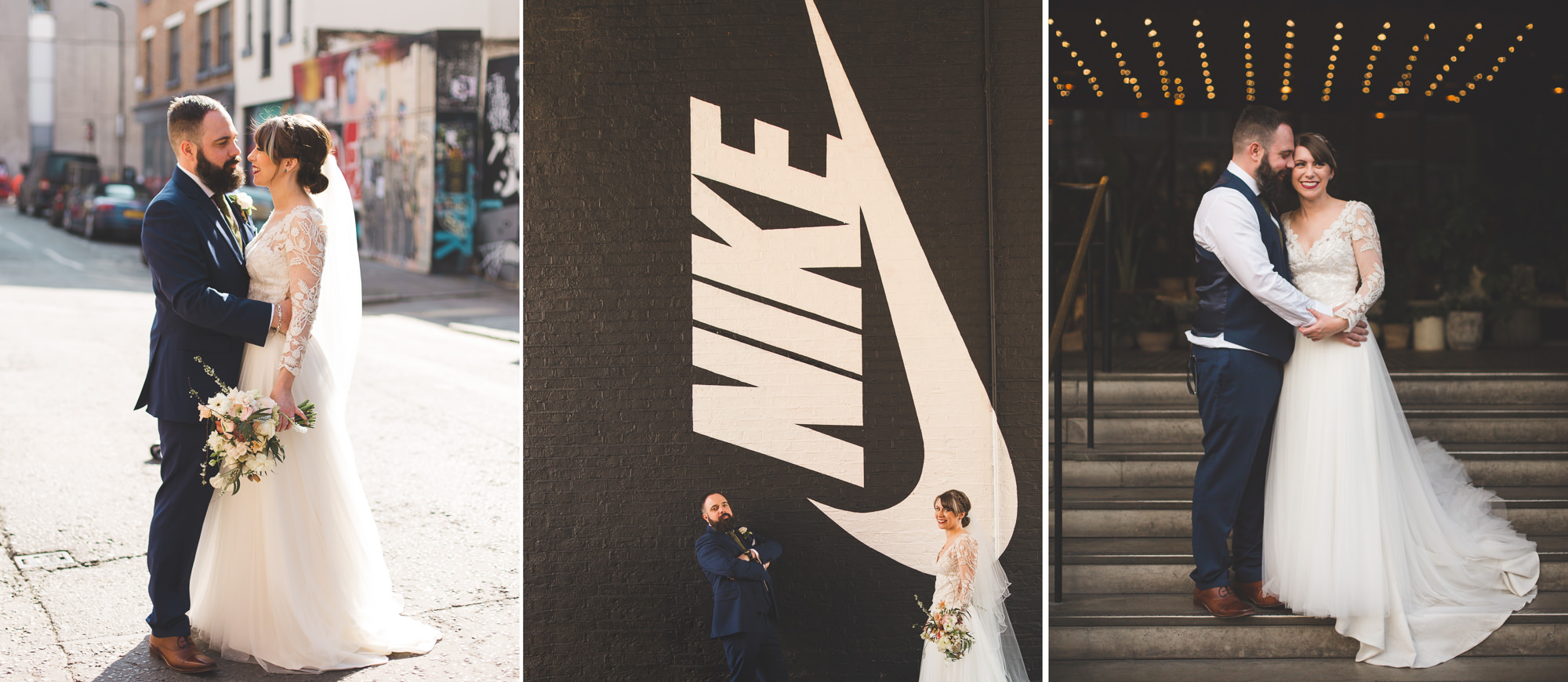 Bride and Groom during wedding at Ace Hotel Shoreditch Wedding captured by Fun Quirky Relaxed Surrey Wedding Photographer - Colourful & Natural wedding photography