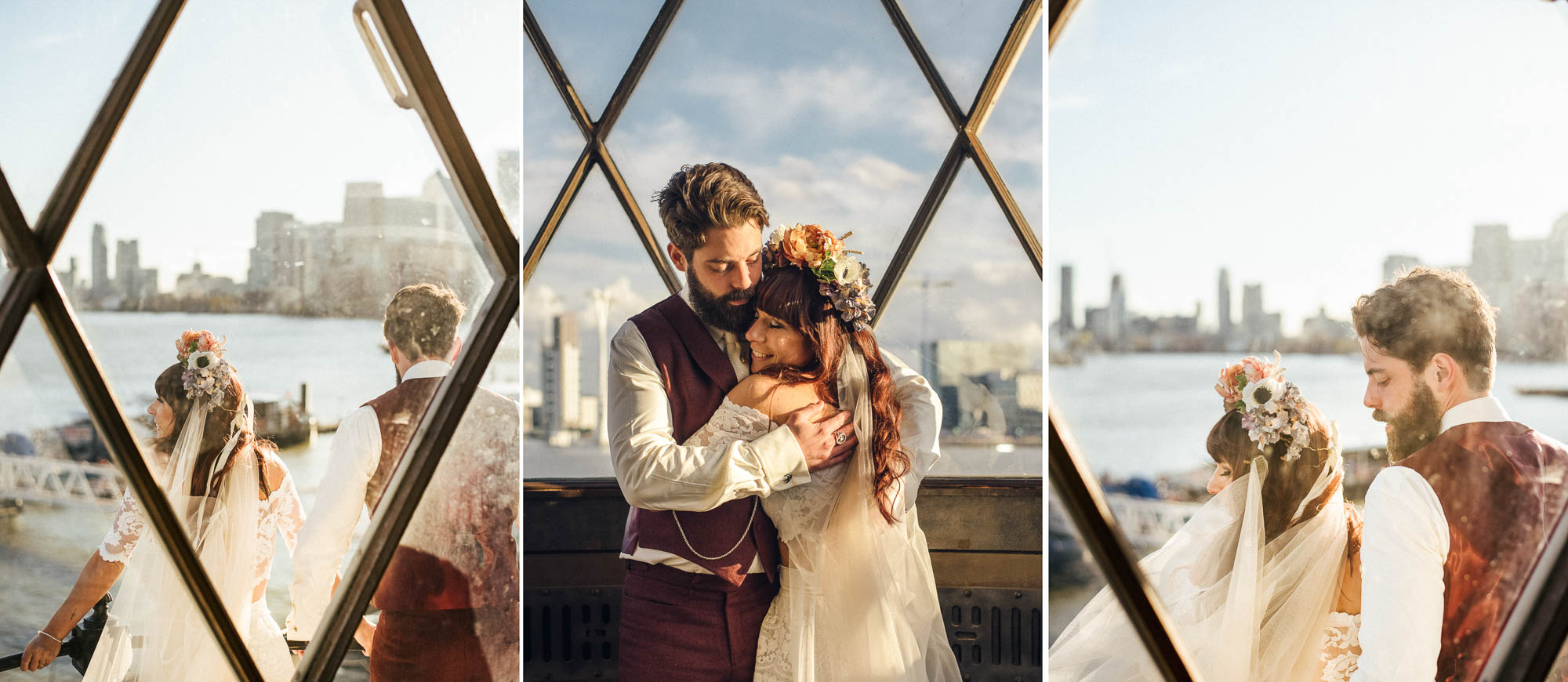 Festival Style Bride and Groom in Trinity Buoy Wharf Lighthouse captured by Fun Quirky Relaxed Surrey Wedding Photographer - Colourful & Natural wedding photography