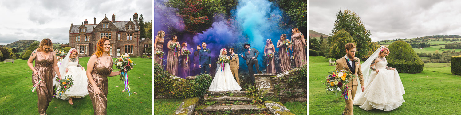 fun mix of creative wedding photography including blue and purple smoke grenades