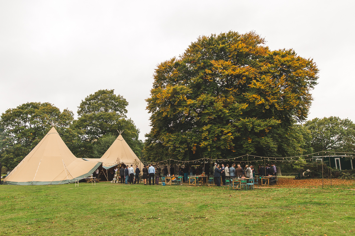 Tipi in the woods at the Dreys wedding venue in Kent