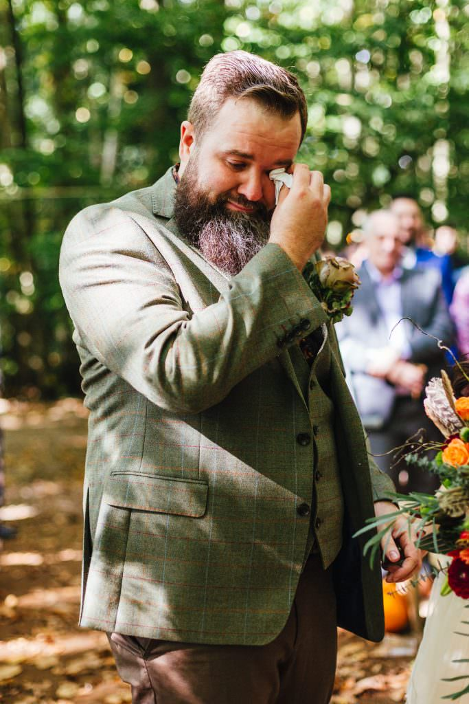 Emotional groom seeing his bride during the wedding ceremony at the dreys wedding photography