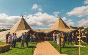colourful fun creative festival tipi at Bower Hill Farm Wedding