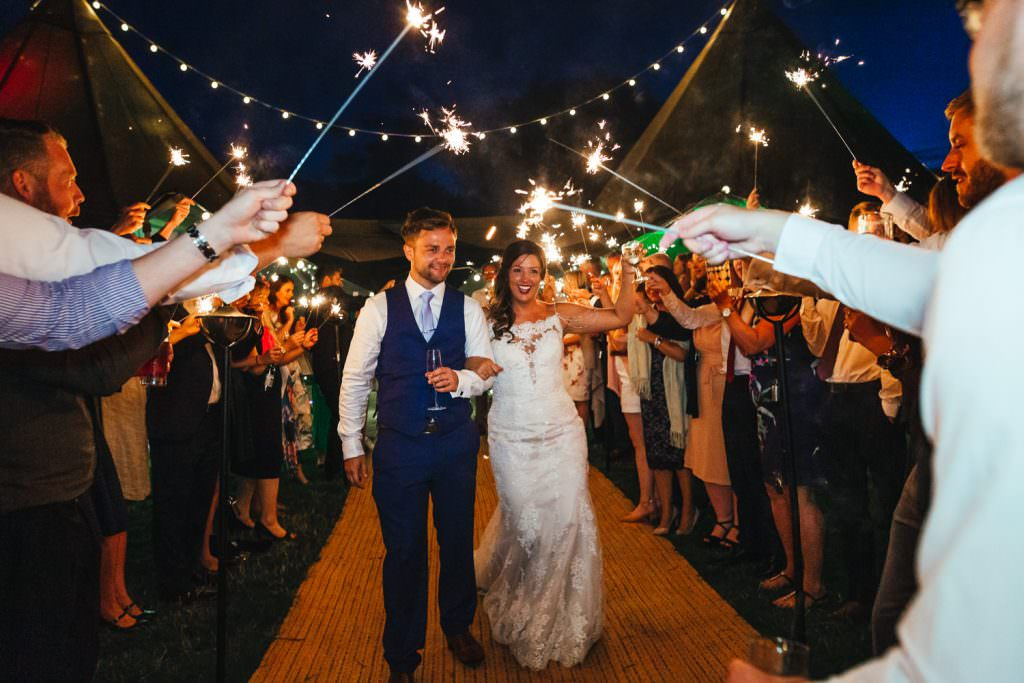 sparklers at Bower hill farm during wedding