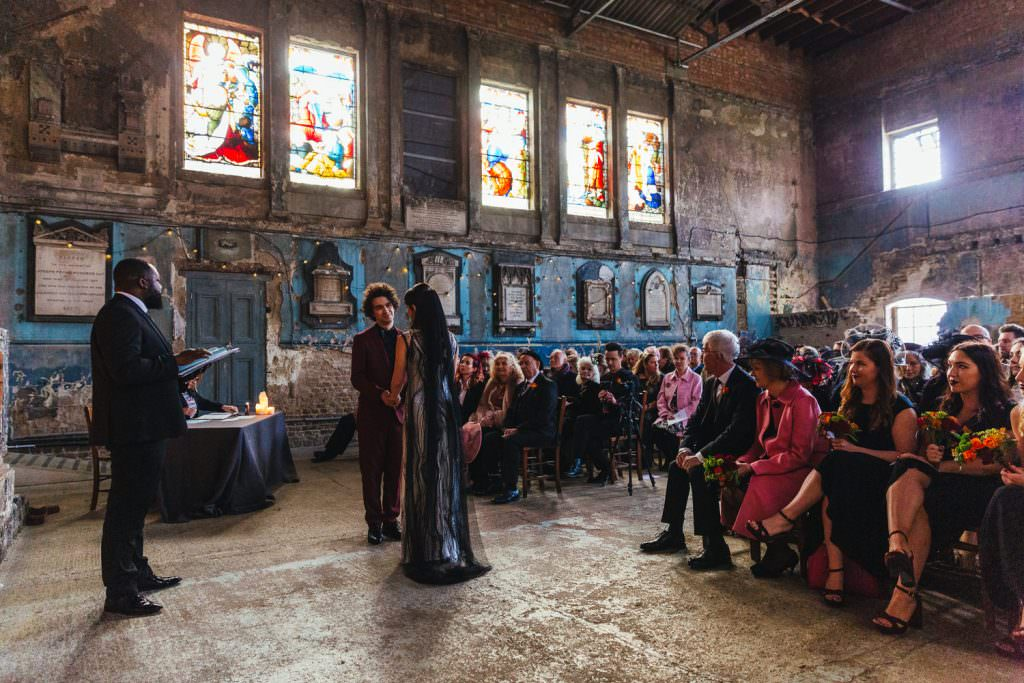 Natural winter wedding ceremony at Asylum and Battersea Arts Centre Wedding