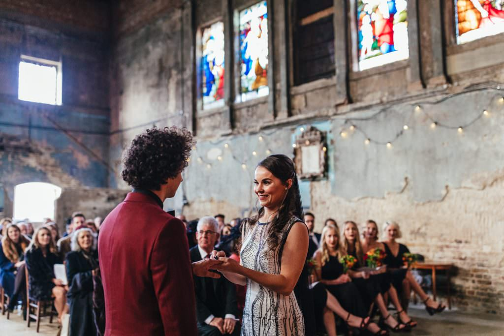 quirky rock and roll bride and groom at Asylum and Battersea Arts Centre Wedding