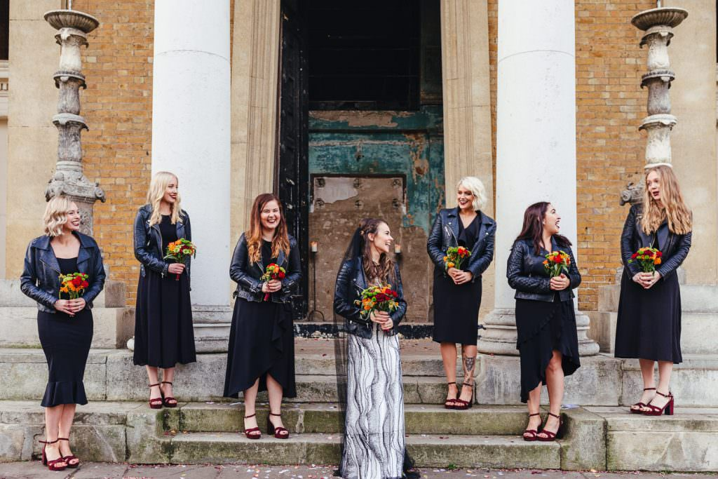 alternative non traditional bride and bridesmaids in black and leather jackets at London Asylum and Battersea Arts Centre Wedding