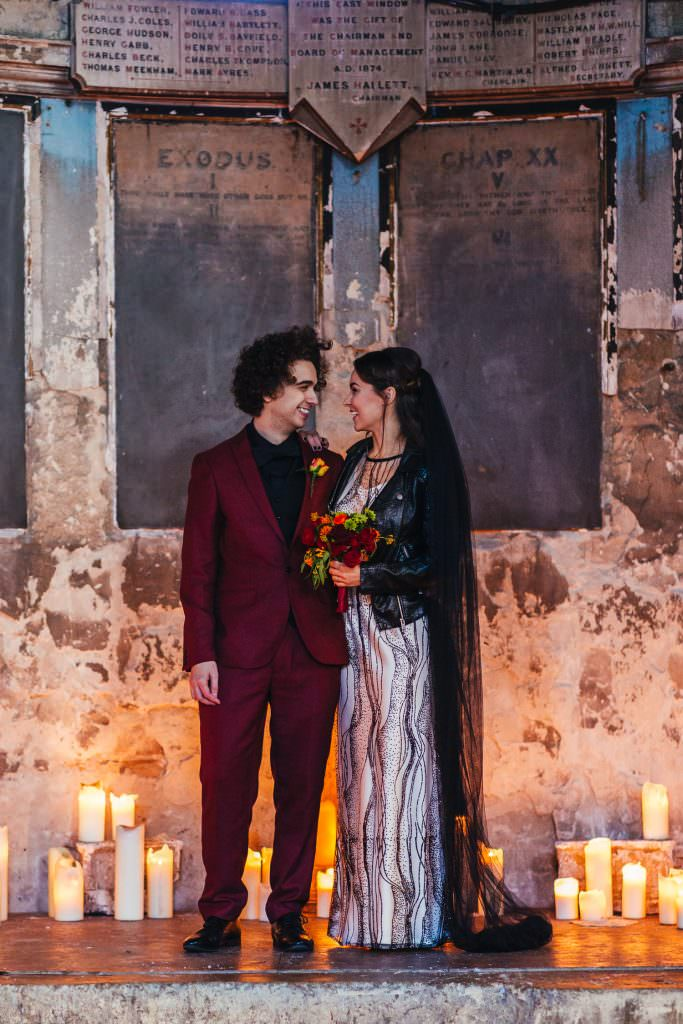 Couple on the alter during Alternative Battersea Arts Centre Asylum London Wedding Photography