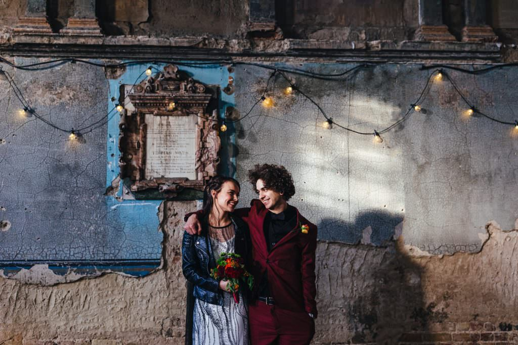 Couple in historical london building during Alternative Battersea Arts Centre Asylum London Wedding Photography