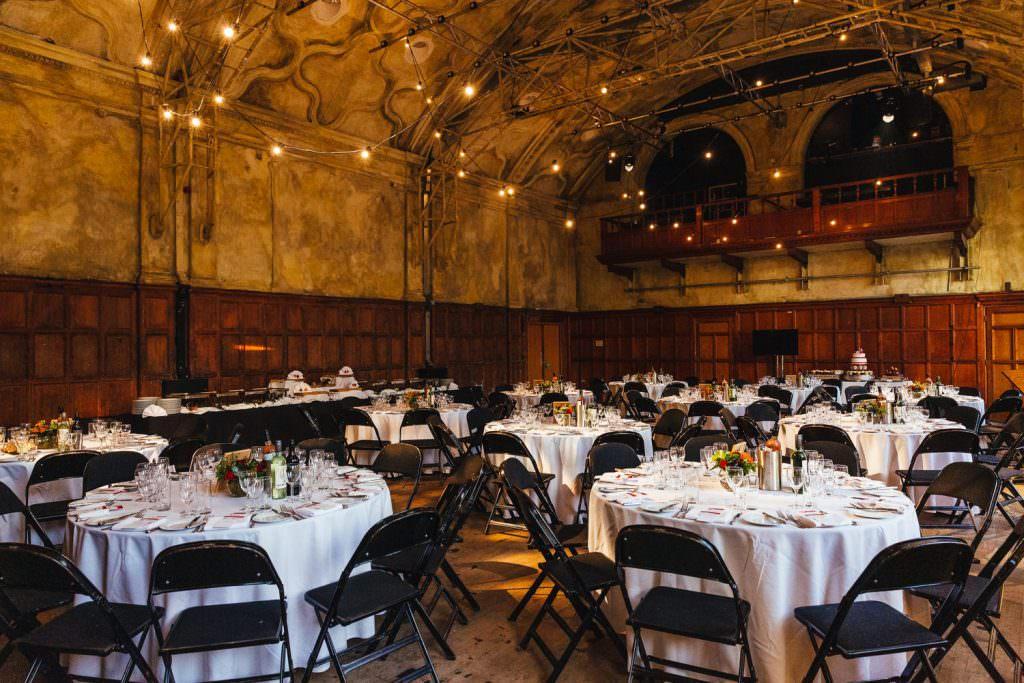 Table layout at Battersea Arts Centre during London Asylum and Battersea Arts Centre Wedding