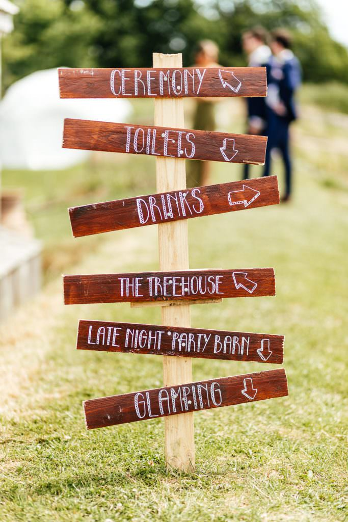 Festival inspired wedding direction wooden signs Glastonbury Festival Themed West Sussex Wedding Photography