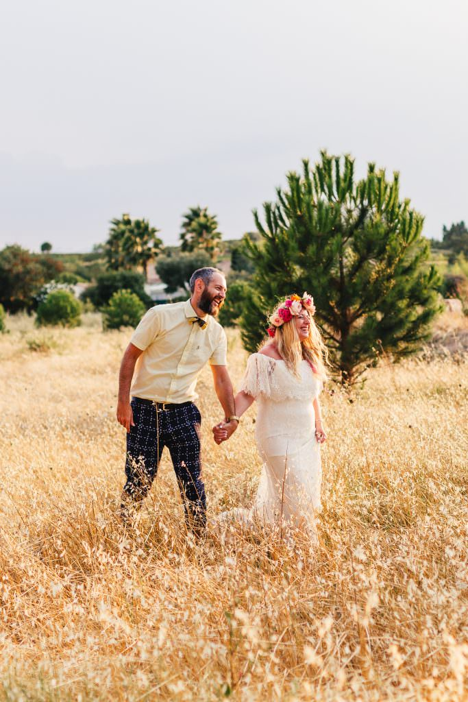 Bride and Groom on their natural and quirky wedding. Bride is very boho in Daughter of Simone dress during South of France Destination Wedding Photographer
