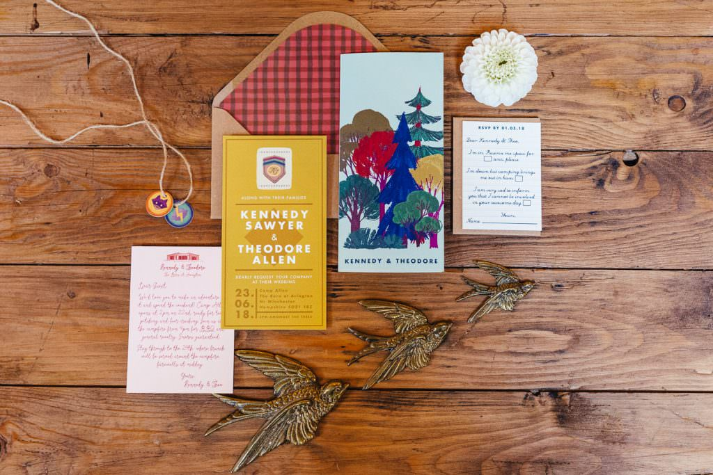 Wes Anderson Moonrise Kingdom inspired woodland wedding invites by White Cottage Weddings