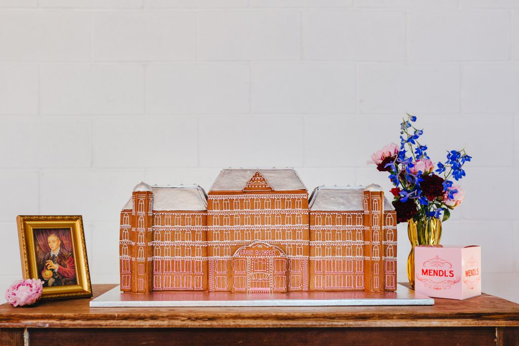 Grand budapest hotel wedding cake made from gingerbread for wes anderson inspired wedding