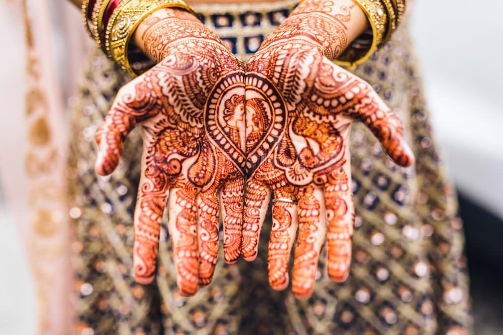 Amazing intricate henna on fusion wedding bride by Fun creative hampshire wedding photographer