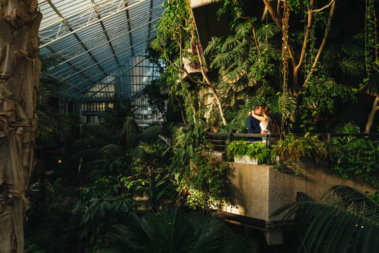 Couple kissing at Barbican Conservatory Wedding Photography