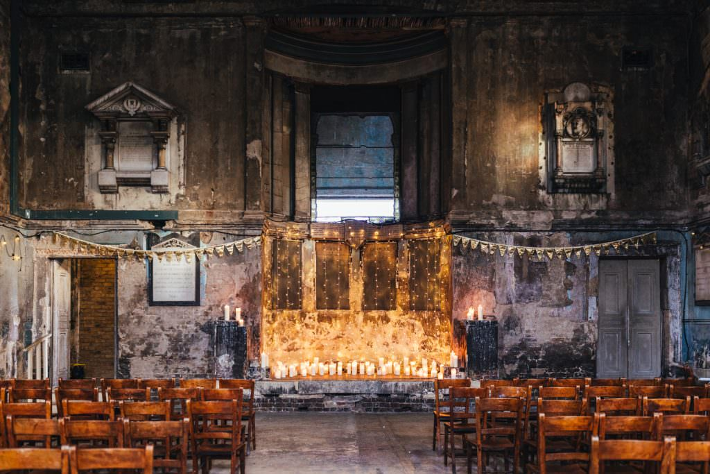 The Wedding Venue The Asylum in Peckham with fairy lights and bunting. Taken during Christmas Inspired Winter Wedding at the Asylum