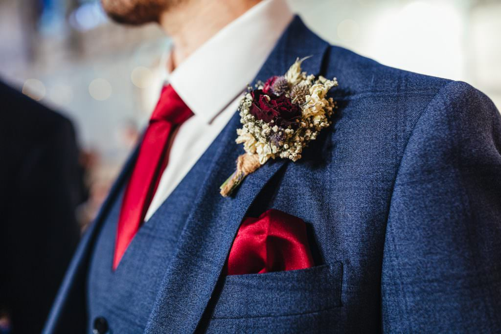 Dried flower button hole at Christmas Inspired Winter Wedding at the Asylum