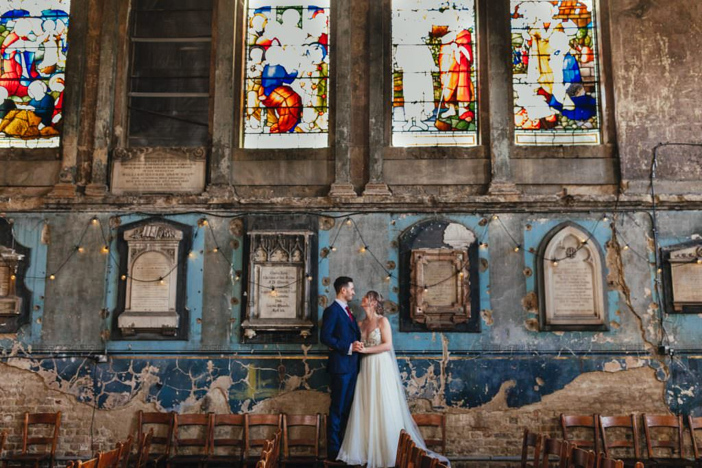 Magic walls at the asylym peckham during Christmas Inspired Winter Wedding at the Asylum