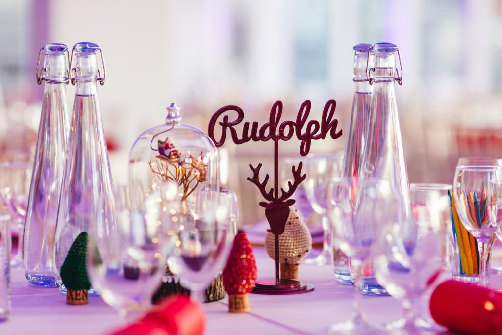 cute Rudolph Christmas inspired wedding table decor. Christmas Inspired Winter Wedding at the Asylum
