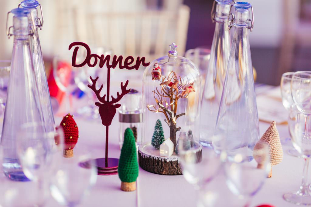cute Christmas inspired wedding table decor. Christmas Inspired Winter Wedding at the Asylum