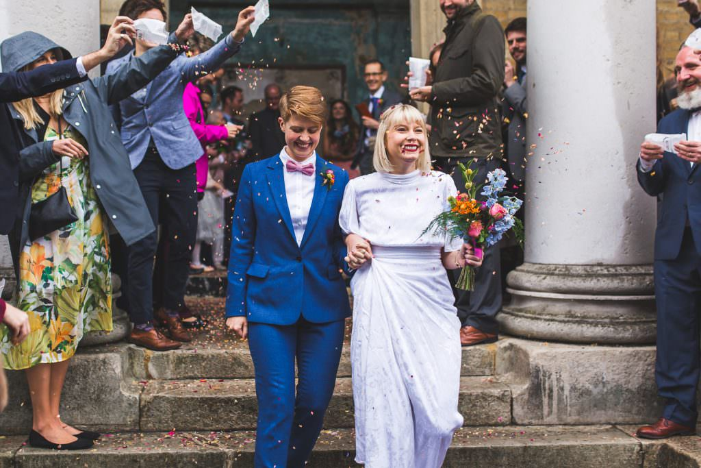 Lesbian same sex couple at the Asylum London taken by LGBTQ Same Sex friendly wedding photographer