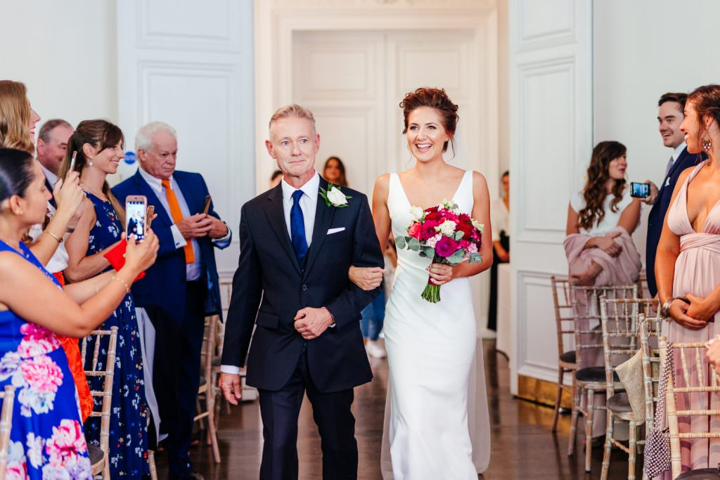 Bride and father walking down the aisle during Stylish Fun & Natural Institute of Contemporary Arts Wedding Photography