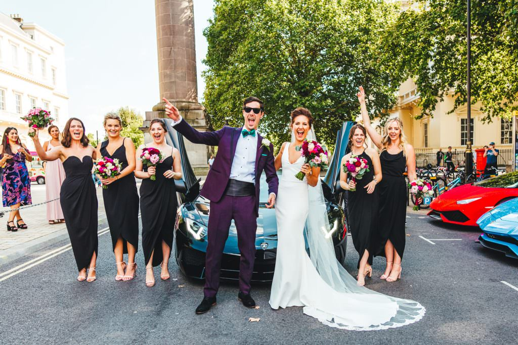 Stylish Fun & Natural Institute of Contemporary Arts Wedding Photography with bride and groom and bridesmaids