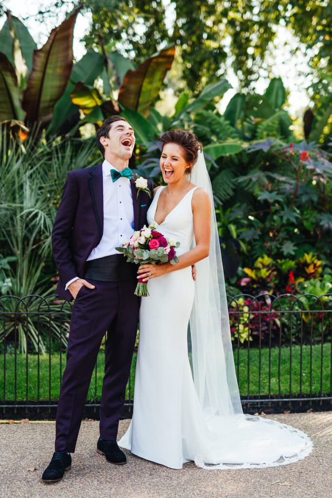 Stylish Fun & Natural Institute of Contemporary Arts Wedding Photography of bride and groom laughing together