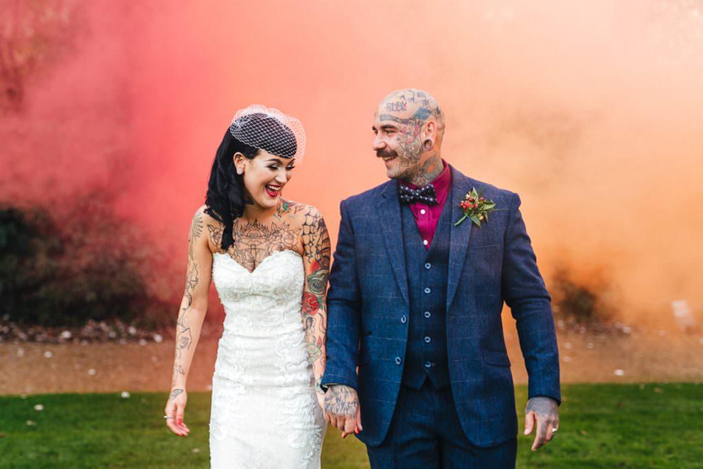 Smoke bombs at Alternative Vintage Rockabilly meets Peaky Blinders Inspired Wedding in Hertfordshire