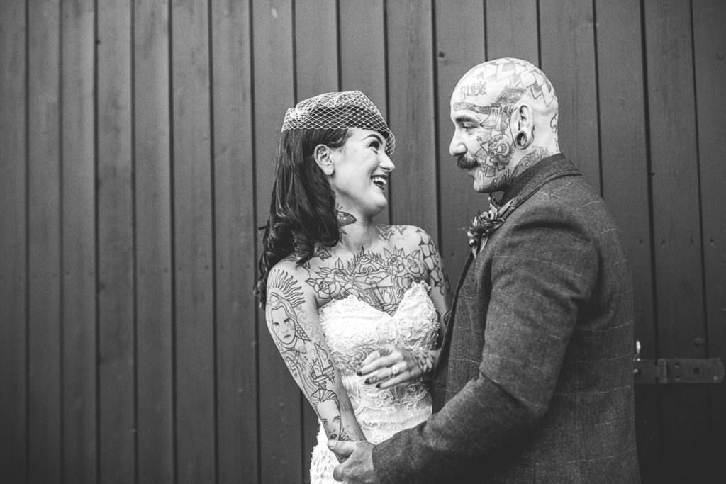 Wed2be Tattooed couple on their wedding day during alternative Vintage Rockabilly meets Peaky Blinders Inspired Wedding in Hertfordshire