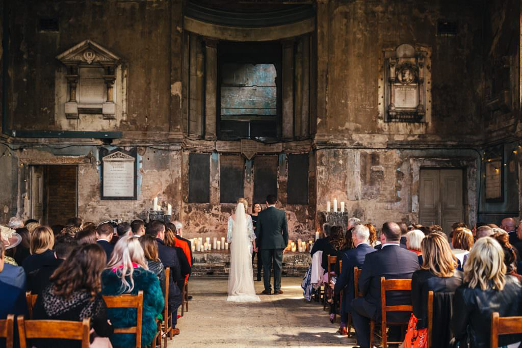 Bride and groom in the Asylum chapel. Asylum wedding photography