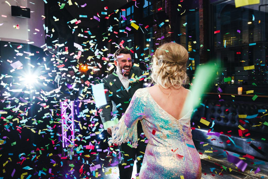 Confetti cannon Asylum wedding photography