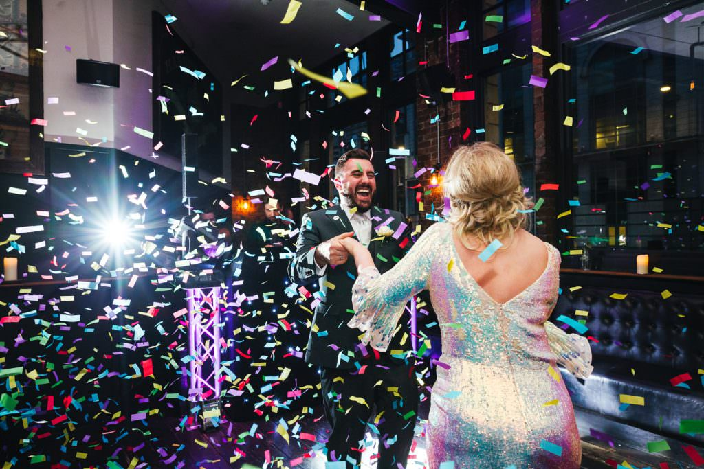 confetti cannons during first dance. Asylum wedding photography