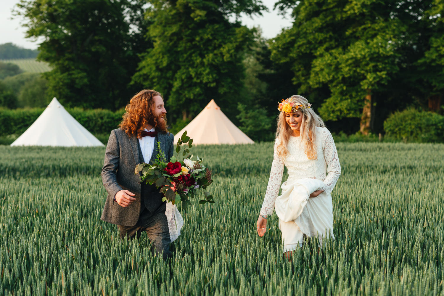 Bride and groom at fun Sussex festival wedding photography. venue
