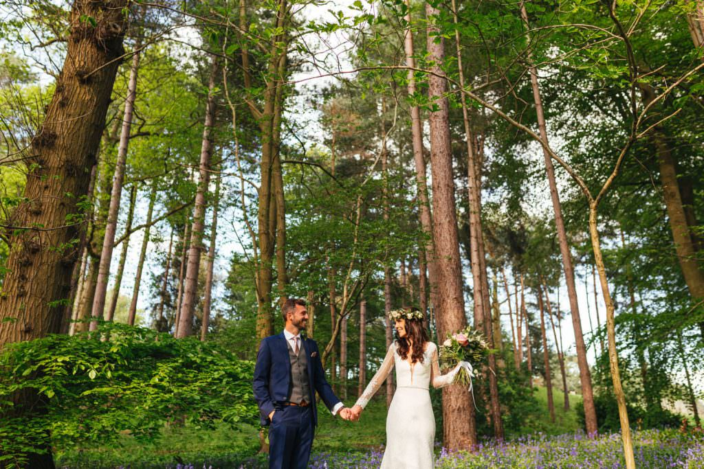 beautiful woodland during fun Sussex festival wedding photography.