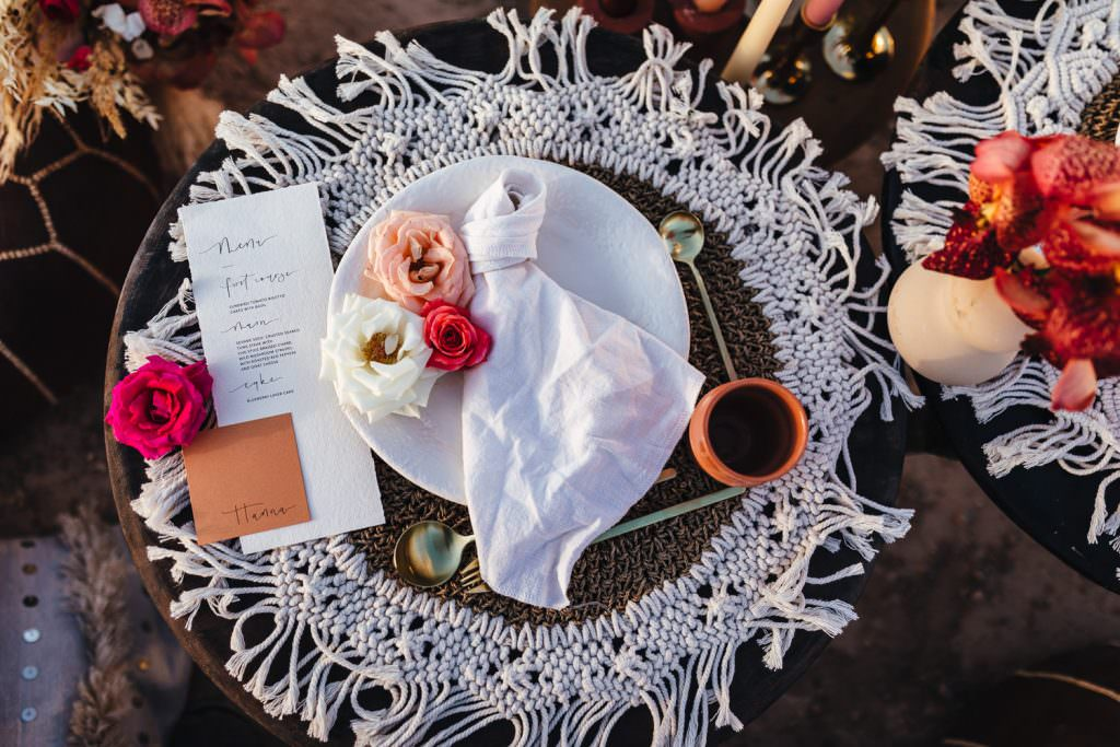 Boho place setting inspiration during Wedding Photography in Agafay Desert Morocco. Macrame crochet place settings