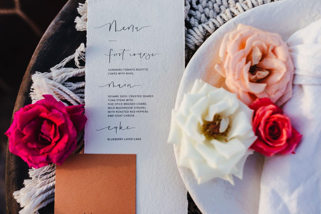 Menu. Boho place setting inspiration during Wedding Photography in Agafay Desert Morocco. Macrame crochet place settings