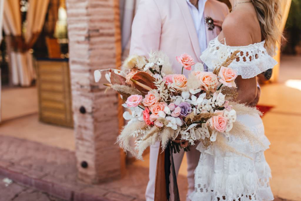 Pampas Grass and Earthy Bouquet. Boho style bouquet at Beldi Country Club Wedding Morocco