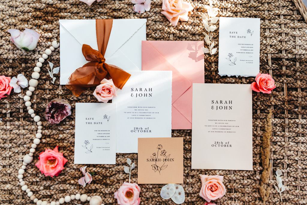 Modern and simple stationery with earthy tones at  Beldi Country Club Wedding Morocco. Persian Rugs and Boho Fashion