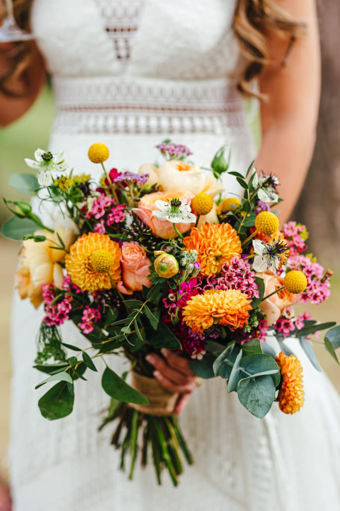 Colourful festival wedding bouquet
