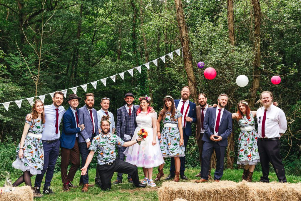 Bride tribe in dinosaur print during  during Festival Frickley Lake Wedding | Sussex Wedding Photography