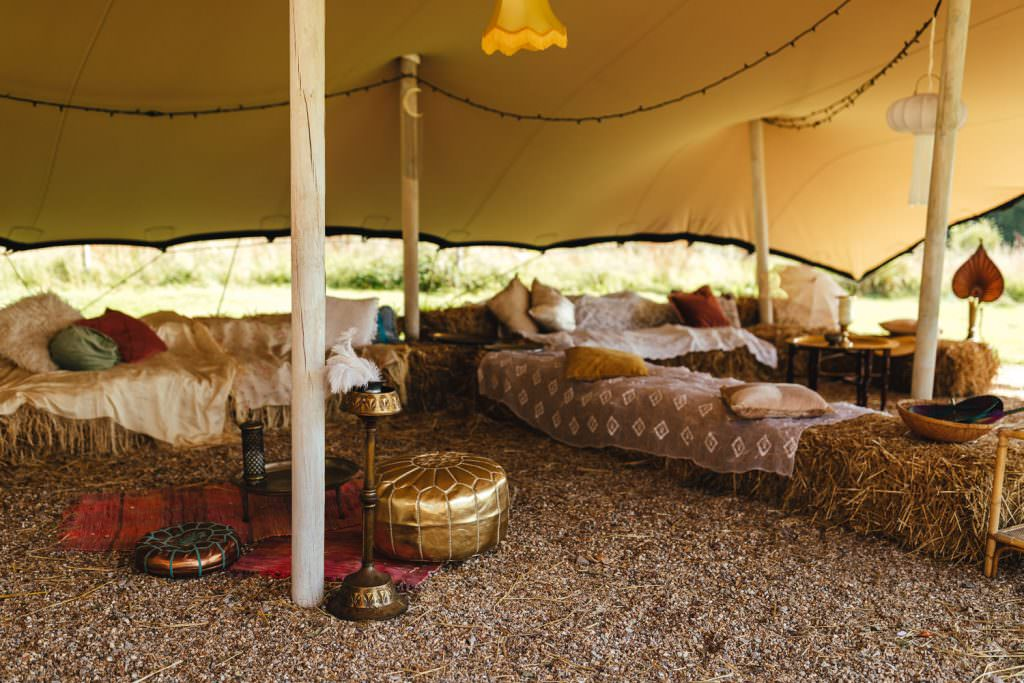 Chill out area at festival wedding during Hawthbush Farm Wedding Photography