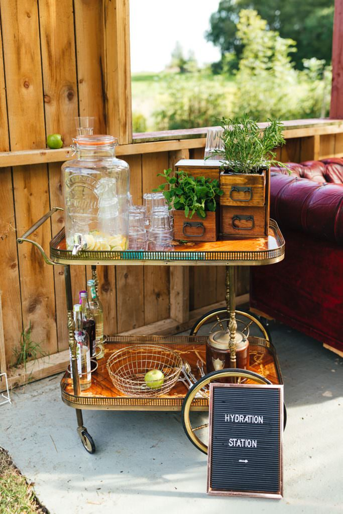 drinks station at Hawthbush Farm Wedding Photography