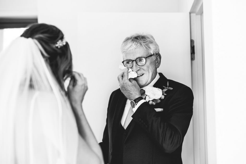 Father gets emotional seeing daughter in wedding dress during London Wedding at Battersea Power Station