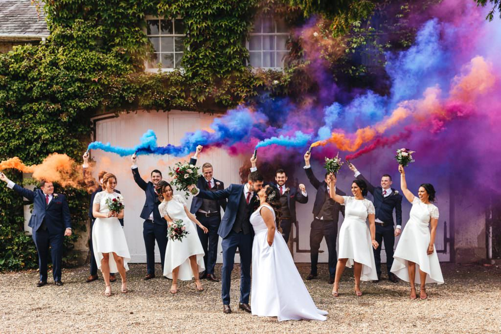 Smoke Bomb Wedding Photography at  Northbrook Park