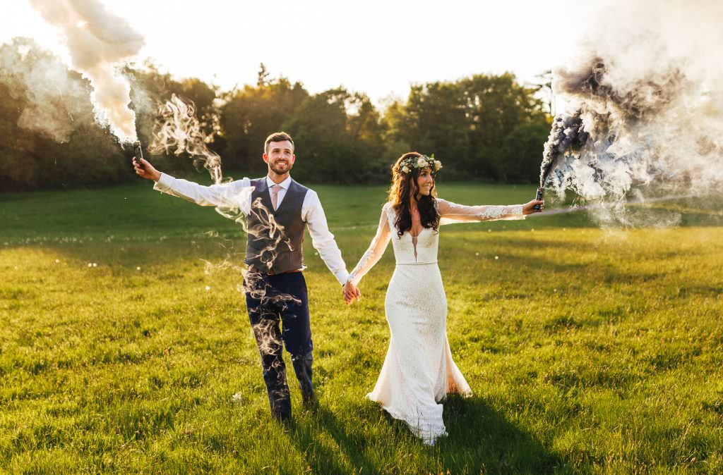 Smoke Bomb Wedding Photography at Painshill Park