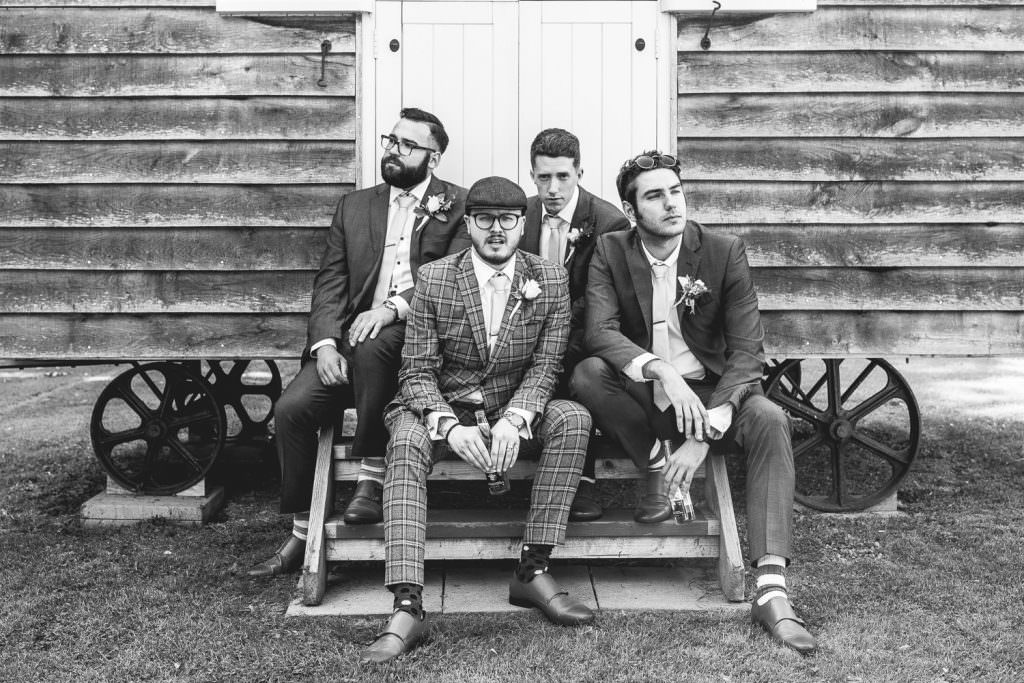 Groom with his groomsmen at Tithe Barn Petersfield Wedding
