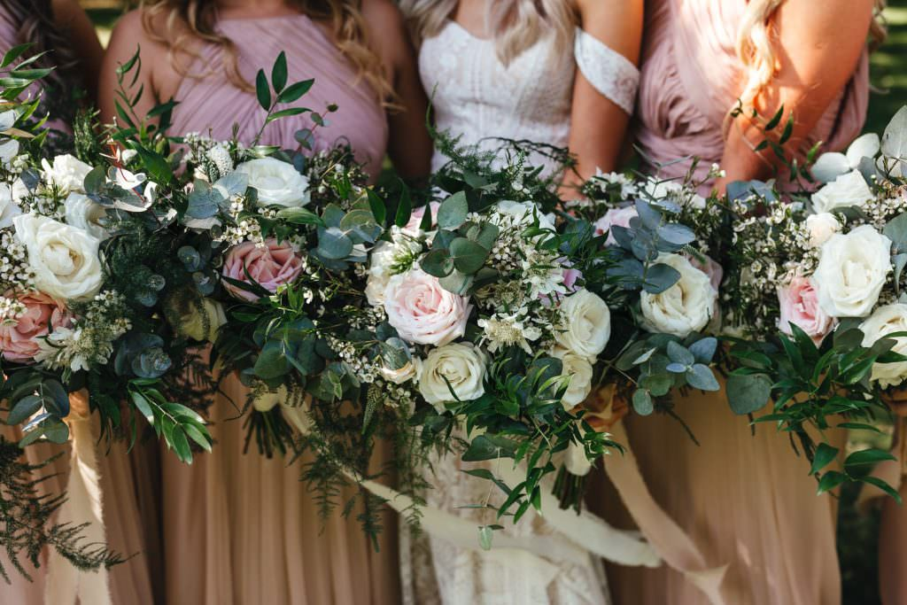 Summer neutral flowers at Tithe Barn Petersfield Wedding
