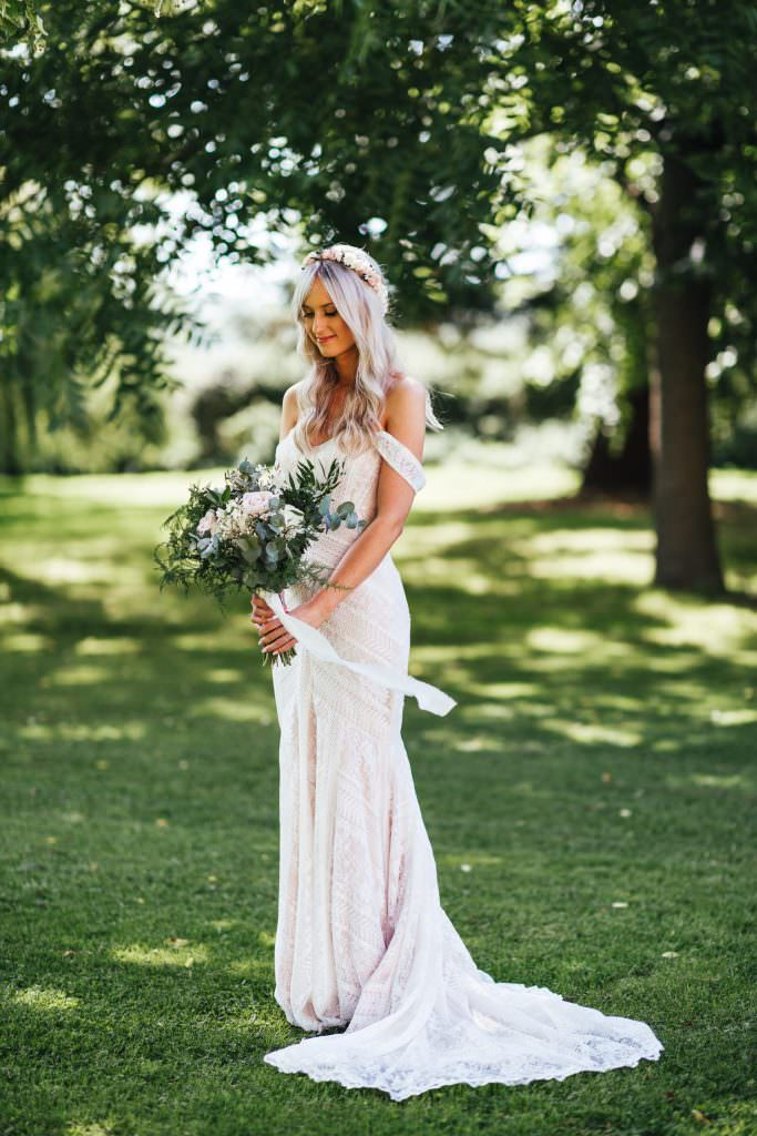 Bride in Wtoo by Watters wedding dress at Tithe Barn Petersfield Wedding. Bohemian wedding dress in Hampshire