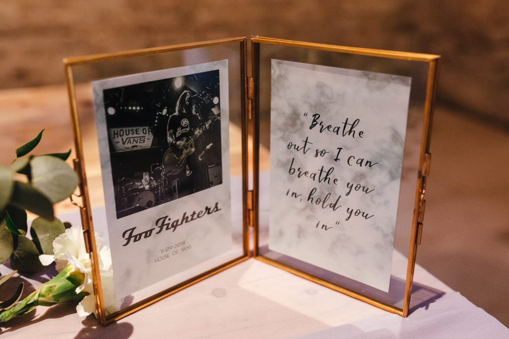 Table names inspired by couples favourite bands at Tithe Barn Petersfield Wedding